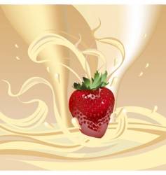 strawberries with milk vector image