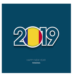 2019 romania typography happy new year background vector