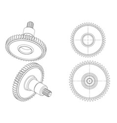 3d model of a cogwheel on a white vector image