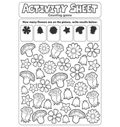 Activity sheet counting game 2 vector