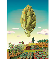 Agricultural landscape planted with artichoke vector