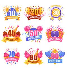 anniversary numbers festive set vector image