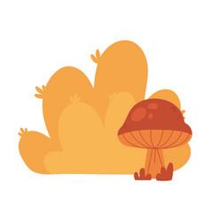 autumn bush mushroom foliage nature isolated icon vector image