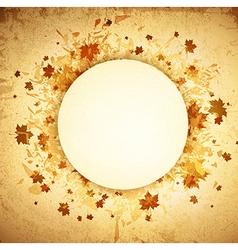 Autumn round grunge frame vector