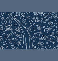Background with hand drawn space elements vector