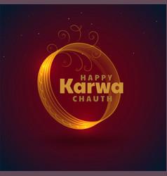 Beautiful karwa chauth festival card decorative vector
