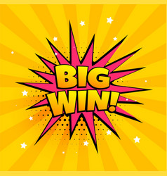 big win surprise banner in comic style vector image