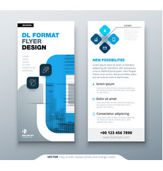 blue dl flyer design with square shapes corporate vector image