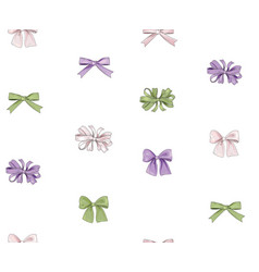 bow seamless pattern girlish fashion white vector image