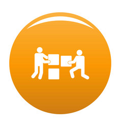 building teamwork icon orange vector image
