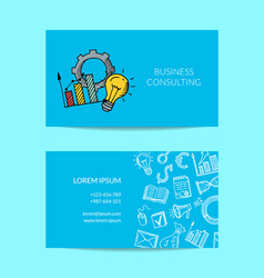 business doodle icons card vector image
