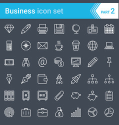 business icons isolated on dark background vector image