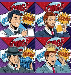 Businessmens pop art cartoons vector