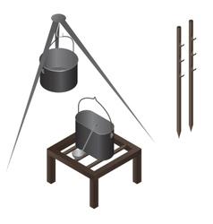 camping food making equipment set vector image