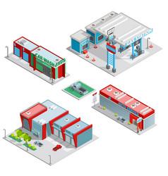 Car Service Center Buildings Isometric Composition vector