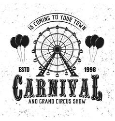 Carnival funfair and ferris wheel black emblem vector