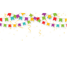 carnival garland with flags confetti and ribbons vector image