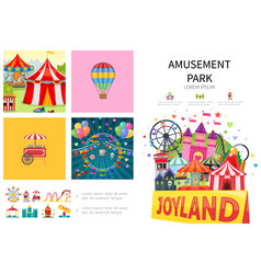 cartoon amusement park infographic concept vector image