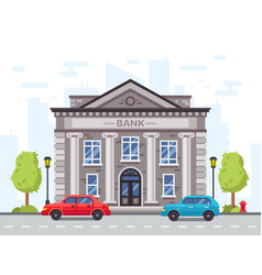 Cartoon bank or government building with roman vector
