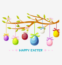 cartoon happy easter greeting card vector image