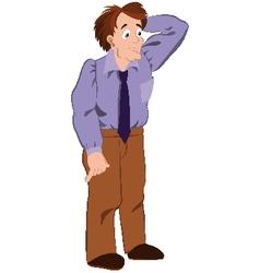 Cartoon man in purple shirt touching hair vector