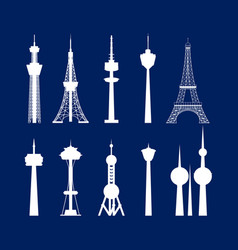 cartoon silhouette white high towers collection vector image