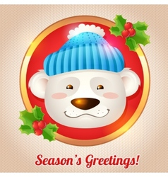 Christmas bear card vector