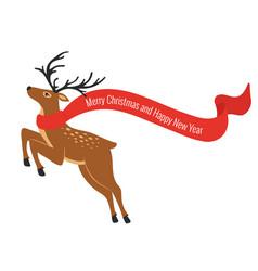 christmas colorful deer with scarf deer in vector image