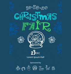 christmas fair poster design template vector image