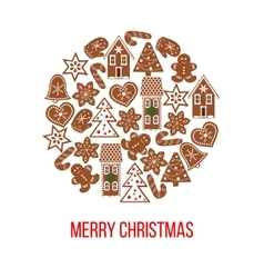 Christmas gingerbread figures on bauble shape vector image