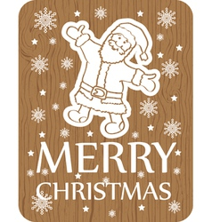 Christmas greeting card santa wood vector