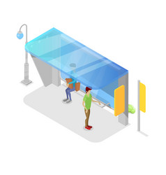 city transport platform isometric 3d icon vector image