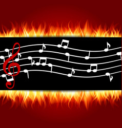 Classical musical notes with treble clef fire vector
