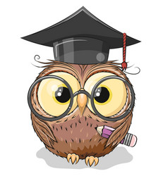 Clever owl with pencil and in graduation cap vector