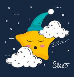 Cloud and star icon sleep night dreams symbol vector