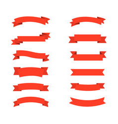 collection red ribbons banners icons for web vector image