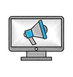 computer desktop with megaphone vector image