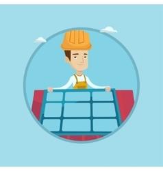 Constructor installing solar panel vector
