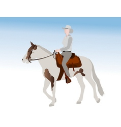 cowgirl riding horse vector image