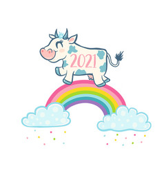cute cow like symbol 2021 year vector image