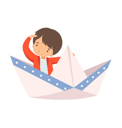 Cute little boy sailing on a paper boat child vector