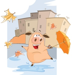 Cute Pig and Windy Autumn Day Cartoon vector