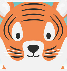 Cute tiger head cartoon animal vector