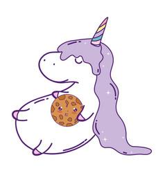 Cute unicorn with cookie kawaii character vector