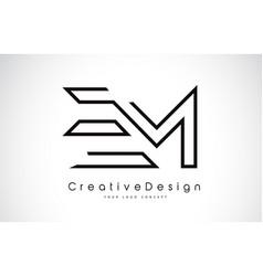 Em e m letter logo design in black colors vector