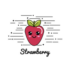 Emblem kawaii happy strawberry icon vector