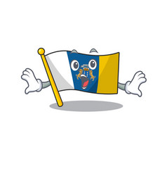 Flag canary island scroll surprised gesture on vector