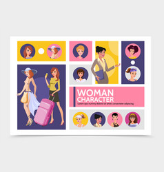 flat woman characters avatars infographic template vector image