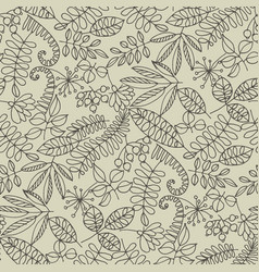 forest leaves hand drawn contour seamless pattern vector image