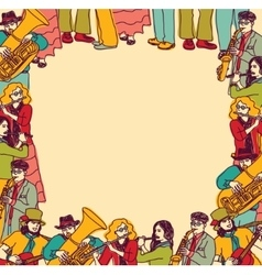 Frame border card musicians band color vector image